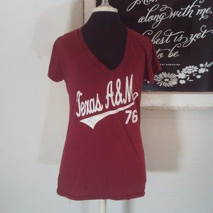 Texas A&M S/S V-Neck Tee Size Large